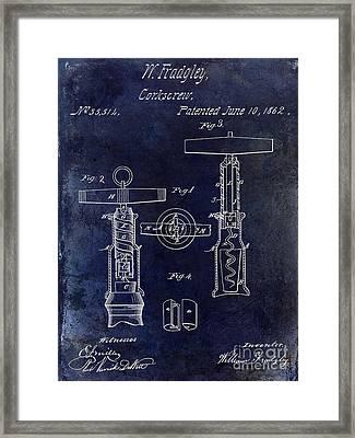 1862 Corkscrew Patent Drawing Framed Print