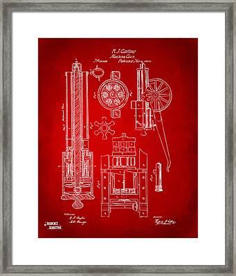 1862 Gatling Gun Patent Artwork - Red Framed Print