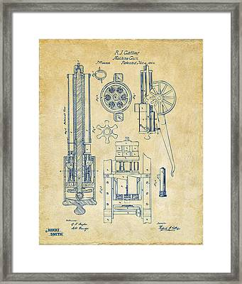 1862 Gatling Gun Patent Artwork - Vintage Framed Print