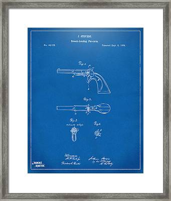 1864 Breech Loading Pistol Patent Artwork - Blueprint Framed Print