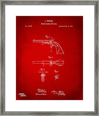 1864 Breech Loading Pistol Patent Artwork - Red Framed Print