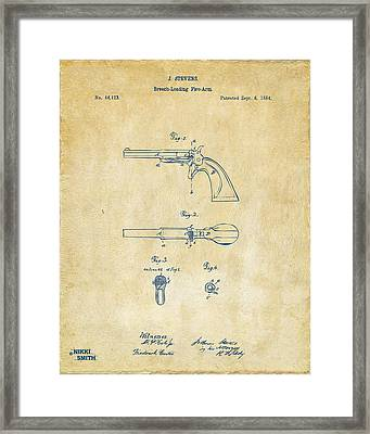 1864 Breech Loading Pistol Patent Artwork - Vintage Framed Print