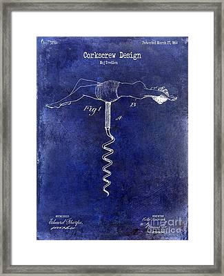 1864 Nude Corkscrew Patent Drawing Blue Framed Print by Jon Neidert