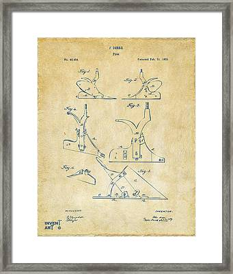 1865 John Deere Plow Patent Vintage Framed Print by Nikki Marie Smith
