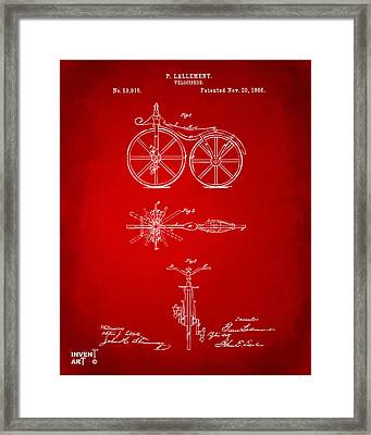 1866 Velocipede Bicycle Patent Artwork Red Framed Print by Nikki Marie Smith