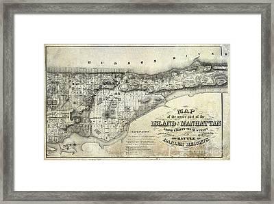 1868 Map Of Manhattan Framed Print
