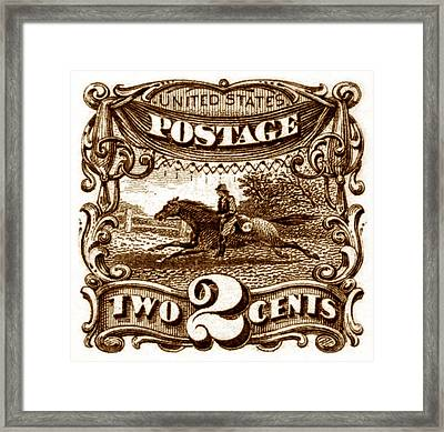 1869 Post Horse And Rider Stamp Framed Print by Historic Image