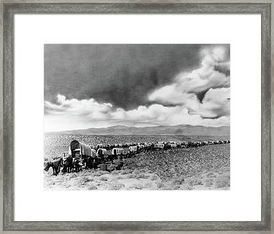 1870s 1880s Montage Of Covered Wagons Framed Print