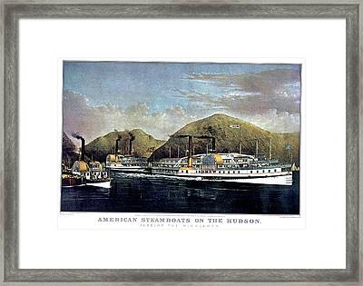 1870s American Steamboats On The Hudson Framed Print