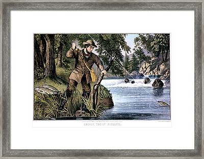 1870s Brook Trout Fishing - Currier & Framed Print