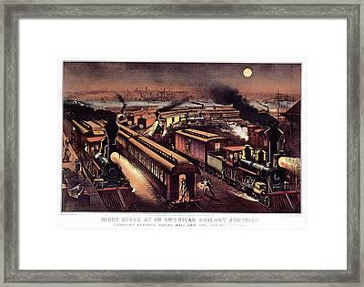1870s Night Scene At An American Framed Print