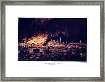 1870s The Great Fire At Boston - Framed Print