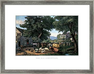 1870s The Old Homestead - Painting By F Framed Print