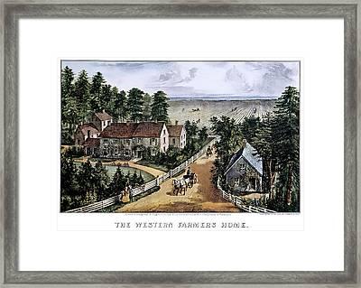 1870s The Western Farmers Home - Framed Print
