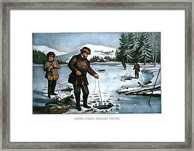 1870s Winter Sports Pickerel Fishing - Framed Print