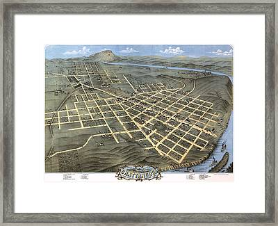 1871 Birds Eye Map Of Chattanooga Framed Print by Stephen Stookey