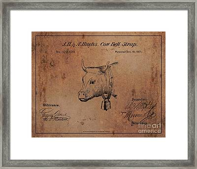 1871 Hughes Cow Bell Strap Patent Art 1 Framed Print by Nishanth Gopinathan