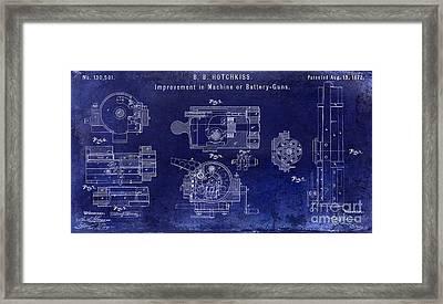1872 Hotchkiss Machine Gun Patent  Blue Framed Print