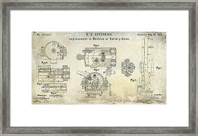 1872 Hotchkiss Machine Gun Patent Framed Print
