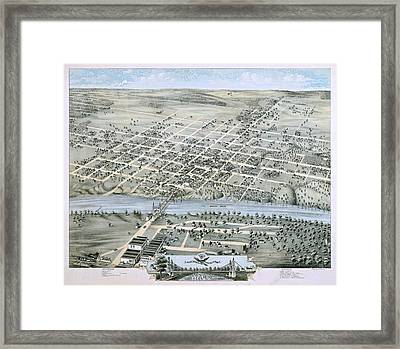 1873 Birds Eye Map Of Waco Framed Print by Stephen Stookey