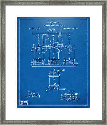 1873 Brewing Beer And Ale Patent Artwork - Blueprint Framed Print by Nikki Marie Smith