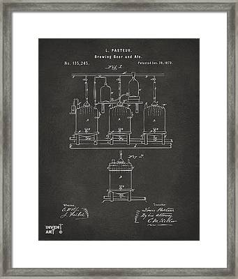1873 Brewing Beer And Ale Patent Artwork - Gray Framed Print by Nikki Marie Smith
