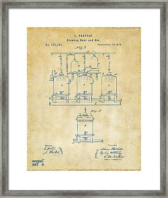 1873 Brewing Beer And Ale Patent Artwork - Vintage Framed Print by Nikki Marie Smith