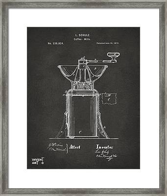 1873 Coffee Mills Patent Artwork Gray Framed Print by Nikki Marie Smith