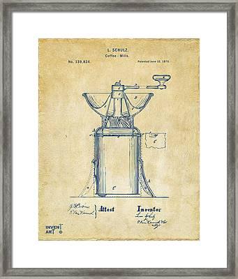 1873 Coffee Mills Patent Artwork Vintage Framed Print by Nikki Marie Smith