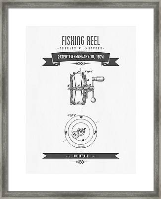 1874 Fishing Reel Patent Drawing Framed Print by Aged Pixel
