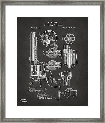 1875 Colt Peacemaker Revolver Patent Artwork - Gray Framed Print by Nikki Marie Smith