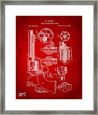1875 Colt Peacemaker Revolver Patent Red Framed Print by Nikki Marie Smith