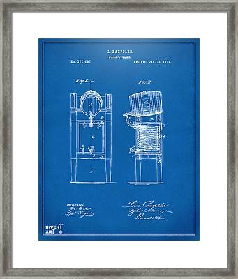 1876 Beer Keg Cooler Patent Artwork Blueprint Framed Print by Nikki Marie Smith