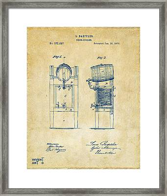 1876 Beer Keg Cooler Patent Artwork - Vintage Framed Print