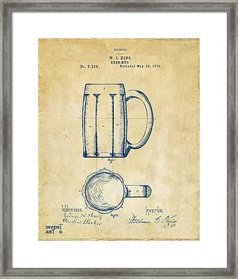 1876 Beer Mug Patent Artwork - Vintage Framed Print by Nikki Marie Smith