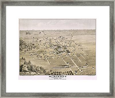 1876 Birds Eye Map Of Mckinney Texas Framed Print by Stephen Stookey