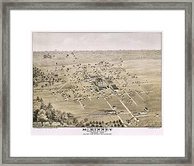 1876 Birds Eye Map Of Mckinney Texas Framed Print