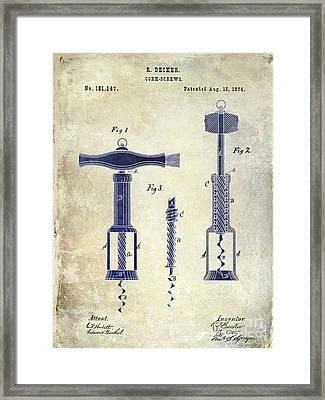 1876 Corkscrew Patent Drawing 2 Tone Framed Print