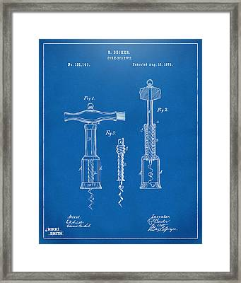 1876 Wine Corkscrews Patent Artwork - Blueprint Framed Print