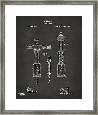 1876 Wine Corkscrews Patent Artwork - Gray Framed Print by Nikki Marie Smith