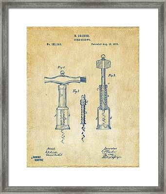 1876 Wine Corkscrews Patent Artwork - Vintage Framed Print by Nikki Marie Smith
