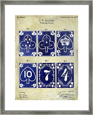 1877 Playing Cards Patent Drawing 2 Tone Framed Print by Jon Neidert