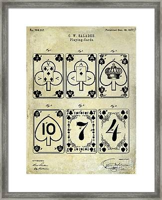 1877 Playing Cards Patent Drawing  Framed Print by Jon Neidert