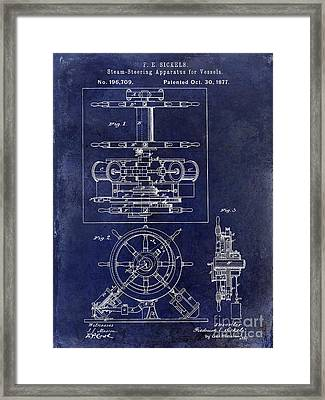 1877 Steering Apparatus For Vessels Patent Drawing Blue Framed Print by Jon Neidert