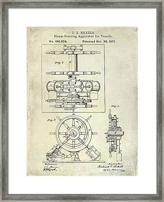 1877 Steering Apparatus For Vessels Patent Drawing Framed Print by Jon Neidert