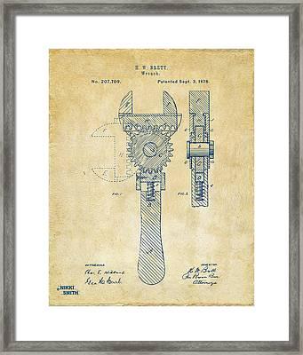 1878 Adjustable Wrench Patent Artwork - Vintage Framed Print by Nikki Marie Smith
