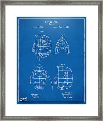 1878 Baseball Catchers Mask Patent - Blueprint Framed Print by Nikki Marie Smith