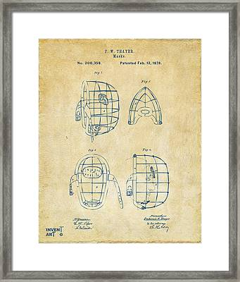 1878 Baseball Catchers Mask Patent - Vintage Framed Print by Nikki Marie Smith