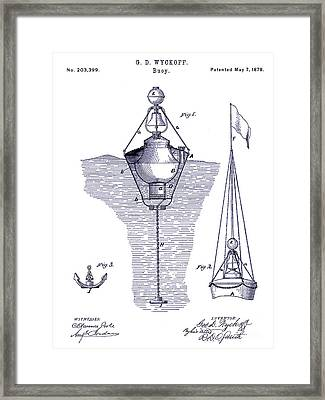 1878 Buoy Patent Drawing Blueprint  Framed Print