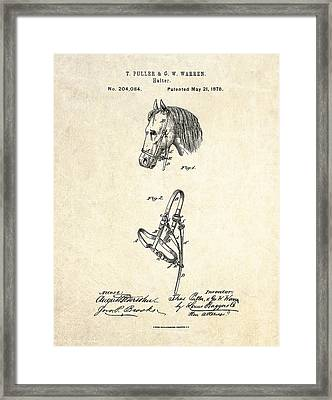1878 Horse Halter Patent Art Framed Print by Gary Bodnar